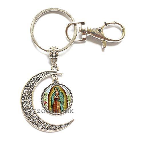 Llavero de la Virgen de Guadalupe, llavero religioso de cúpula de cristal, joyería católica, joyería cristiana, llavero MT363