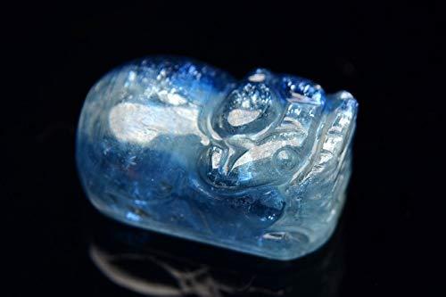 【 福縁閣 】【1点物】希少AAA カイヤナイトシリカ 13.5x21.5mm 貔貅(貔貅) 穴あき ルース_PG5994 天然石 パワーストーン ビーズ