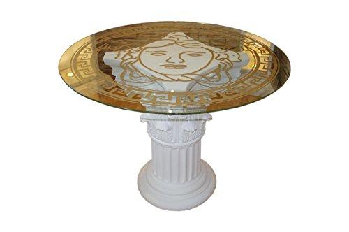Antikes Wohndesign Runder Glastisch Esstisch Tafeltisch Küchentisch Säulentisch (Creme-Beige)