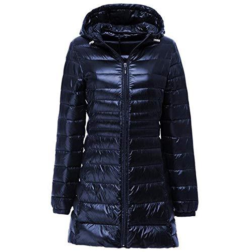 LINXYU Frauen-Daunenjacke Mit Kapuze Mittellange Warm Jacket,Marine Bleu,6XL