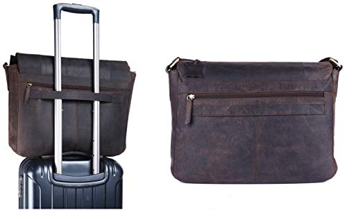 TUSC Charon Braun Leder Tasche Vintage Laptoptasche 15,6 Zoll 14 Zoll Herren Damen Unisex Umhängetasche Aktentasche Schultertasche für Büro Notebook Messenger Bag Laptop iPad, 38x28x9cm