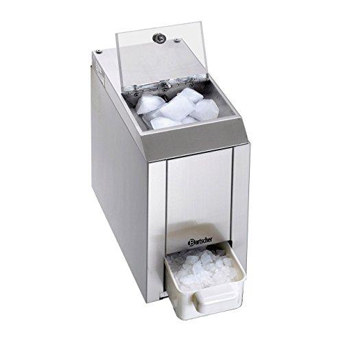 Bartscher 135012 Edelstahl Eiscrasher, Fassungsvermögen 1kg, Auffangbehälter herausnehmbar, silber