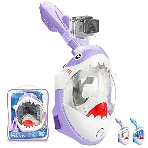 Tauchermaske Vollmaske für Kinder mit Anti-Fog und Anti-Leck Technologie, Schnorchelmaske mit Kamerahalter und 180° Sichtfeld, Faltbare Tauchmaske Doppelkanal CO2 Sichere Dichtung aus Silikon