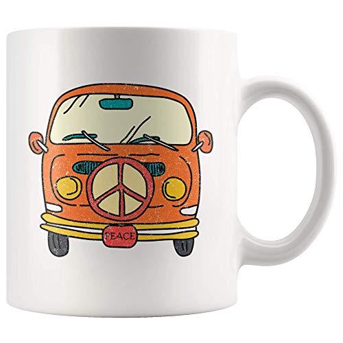 N\A Taza de Furgoneta Hippie para Amante Gitano Hippie corazón de Taza de café Hippie Regalo Alma de un Gitano Viaje IR Fuera Taza de té 11 oz