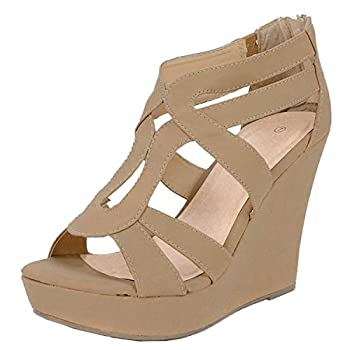 Lindy 03 Strappy Open Toe Platform Wedge Tan 6.5
