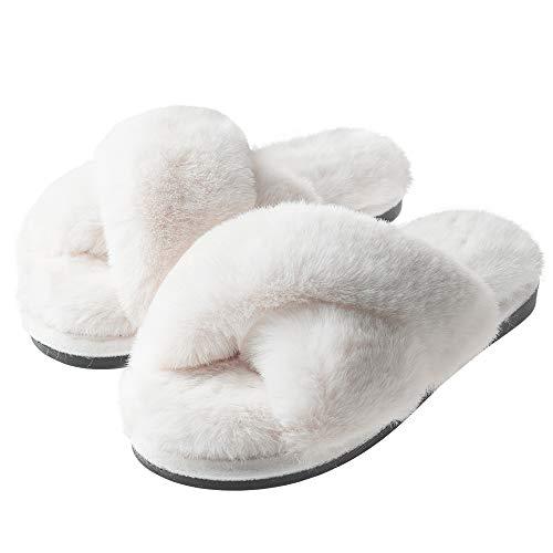 Frauen Cross Band Soft Plüsch Hausschuhe Open Toe Fuzzy Fluffy Furry Pelz Hausschuhe, Memory Foam Anti-Rutsch Indoor Outdoor Hausschuhe (Weiß, numeric_40_point_5)