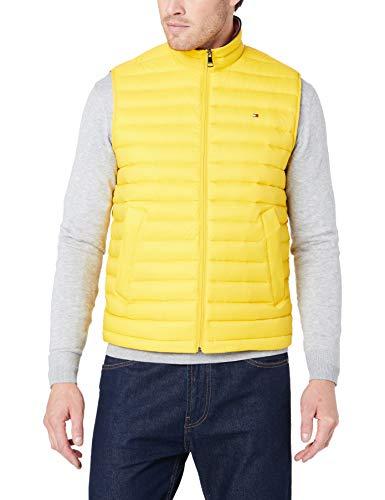 Tommy Hilfiger Herren Packable DOWN Vest Jacke, Gelb (Sulphur 716), Large (Herstellergröße:L)