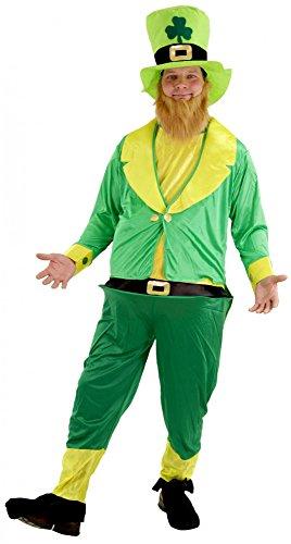 Foxxeo Divertido Disfraz de Duende irlandés Verde para Hombres Lema de Carnaval de San Patricio, Tamaño: XXL