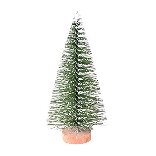 GINELO Mini Christmas Trees Small Pine Tree with Wood Base Winter Snow Ornaments Tabletop Desktop Trees for Christmas Decorations