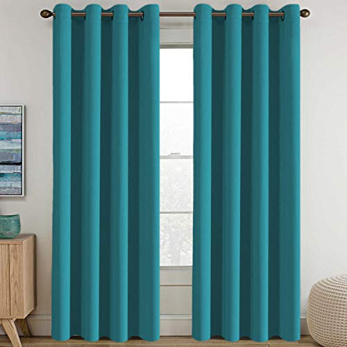 Blackout Thermal Insulated Living Room Curtains 84 inches Long Kids Boys Room Curtains Blackout for Bedroom - Thermal Insulated Room Darkening Window Treatment Grommet One Panel, - Turquoise Blue