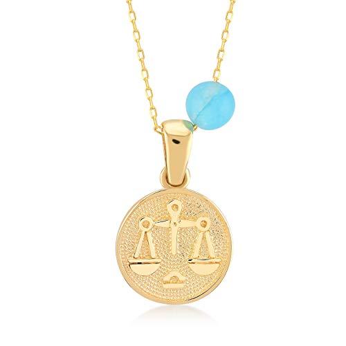 Gelin - Collar para mujer de oro amarillo 585 de 14 quilates con colgante de signo del zodiaco báscula - cadena de 45 cm