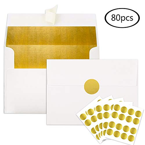 JPSOR A7 Invitation Envelopes Gold Foil-Lined 5 x 7 Inches, 80pcs Self Seal Envelopes with 80pcs Gold Foil Stickers for Weddings, Parties, Graduations, Birthday Invitations