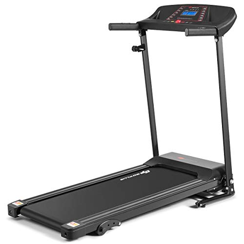 1.5HP Electric Folding Treadmill with Adjustable Incline, Jogging Running Machine with 12 Pre-set Programs, LCD Display and Heart Rate Sensor, Portable Treadmill with Low Noise for Home and Office