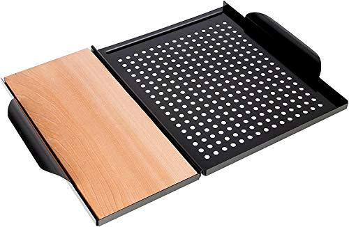 Rustler Grillplatte 45 x 30,5 x 3 cm aus rostfreiem Karbonstahl in Schwarz mit Räucherbrett Grillplanke aus kanadischem Zedernholz zum Grillen von Fleisch, Fisch und Gemüse