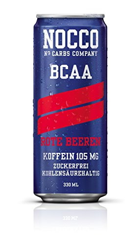 NOCCO BCAA Drink with Caffeine - Red Berry Flavour - No Carbs Company Fitness Drink (12 x 330ml cans)