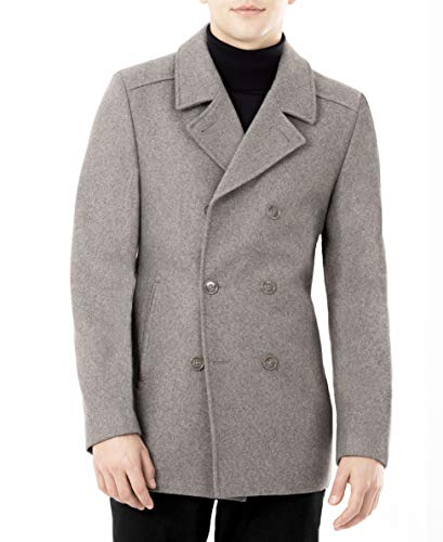 DKNY Men's Modern Peacoat, Light Grey, 44L