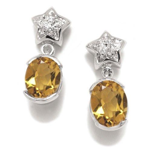 Gioie Orecchini Donna in Oro 18 carati Bianco con Quarzo Citrino e Diamante H/SI (totale diamanti 0.04 ct), 5.4 Grammi