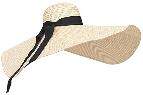 Sun Hat for Women, Women's Wide Brim Sun Hat Summer Beach Sun Hat UV Sun Protection Packable Reversible Bucket Hat (Free Size, Beige, one_Size)