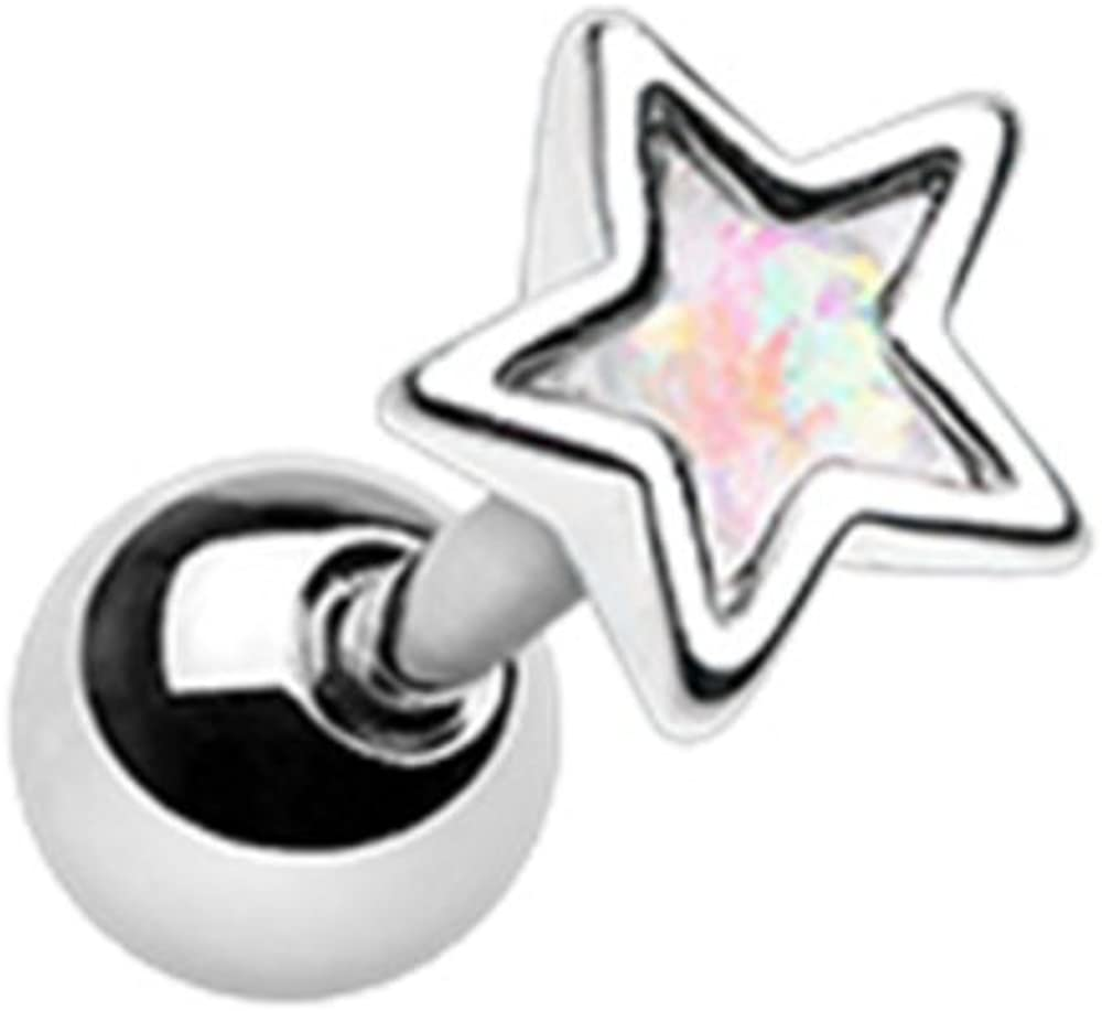 18G White Synthetic Opal Star Shape Cartilage Tragus Earring (Sold Individually)
