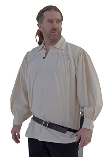 Battle-Merchant Ritterhemd - Piratenhemd aus Baumwolle Natur Mittelalter, LARP Größe L