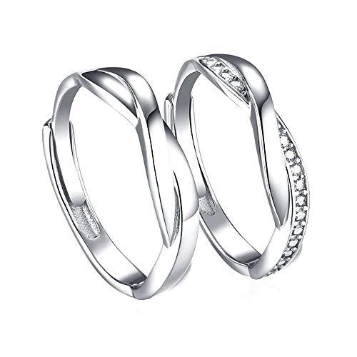 Ostory 指輪 お洒落 個性的な キラキラ ペアリング シルバー925純銀製 ペア指輪 カップル リング 婚約リング 婚約指輪 スライド調整 フリーサイズ レディース メンズ アクセサリー