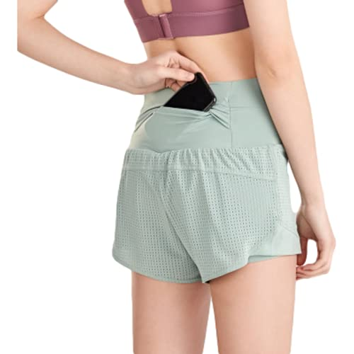 Pantalones Cortos de Entrenamiento de Yoga de Dos Piezas Falsos de Cintura Alta para Mujer Pantalones Cortos Deportivos Sueltos de Color sólido de Verano para Correr de Secado rápido Large