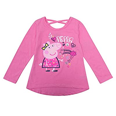 Peppa Pig Long Sleeve Shirt - Long Sleeve T-Shirt of Peppa Pig Featuring Peppa, Mummy, and George (Pink, 3T)
