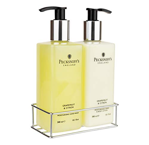 Pecksniffs Luxury Bath Gift Set, Grapefruit and Citron Moisturizing Hand Soap and Body Lotion Set with Caddy, 10.1 Fl Oz