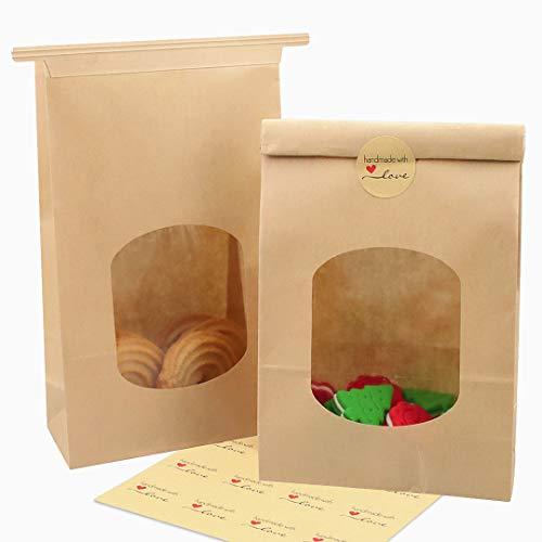 JOERSH Bakery Bags with Window Kraft Paper Bags 9.5x6.1x2.8 inch Tin Tie Tab Lock Brown Packaging Bags Coffee Bags Cookie Bags Treat Bags Pack of 28