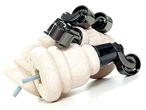 4 patas de madera blancas lavadas de 155 mm de alto para muebles con patas de repuesto cromadas negras para sillones, sofás M8 (8 mm) TSP2007