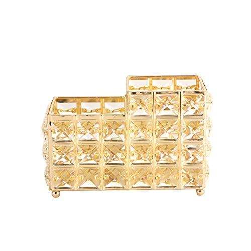 Cristal Maquillaje Cepillo Soporte Escritorio Ceja Lápiz Almacenamiento Cubo Joyería Organizador Cosmético Sitular de Herramientas de Escritorio Cuadrado SIII (Color : Gold, Size : Square)