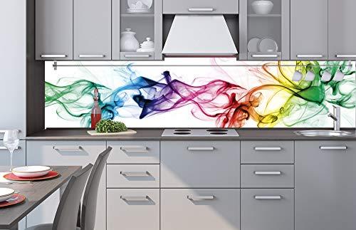 Küchenrückwand Verbundplatte Rauch 260 x 60 cm | Spritzschutz Küche für Herd Spüle | Premium Qualität, Alu Dibond, Stärke 3 mm - Made in EU | Inklusive Kleber