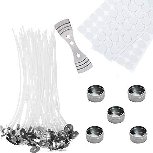 Kit per realizzare candele con 100 stoppini cerati, 100 adesivi a doppio lato, 1 supporto fisso per stoppino in acciaio inox, 5 contenitori per stoppi