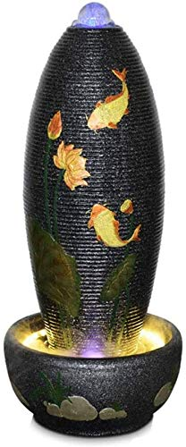 Tabletop Water Fountain Large Decorative Fountain with Golden Fish Lotus Pattern Floor Egg-Shaped Fountain Waterfall for Garden, Patio, Deck, Porch-Yard Art Decor Outdoor Water Fountain, Gra