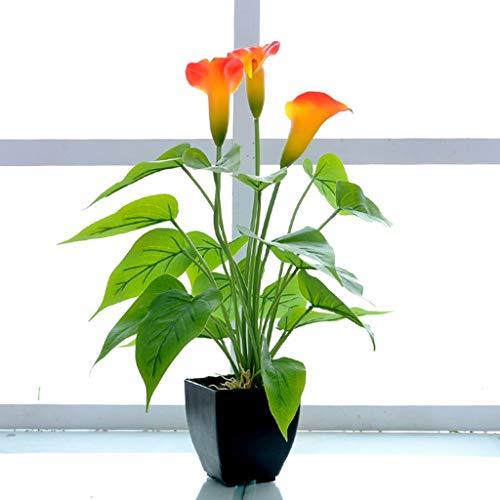 Kunstblumen Calla Lily Topfpflanzen Pflanzen Kunstpflanzen Plastikblumen Unechte Blumen Für Innen-Außen Balkon Garten Zuhause Küche Dekoration (Color : Orange red)