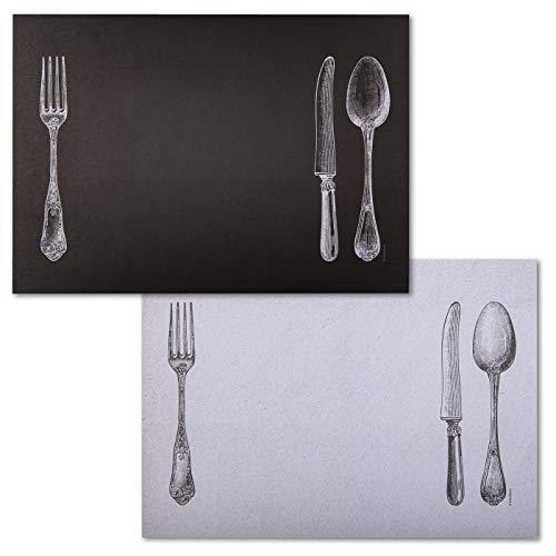 corpus delicti :: Manteles individuales de papel – Práctico bloc de papel con diseño de cuchillo, tenedor y cuchara en blanco y negro – SUR LA Table