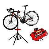 YANGHONG-Portabicicletas- Rack de mantenimiento del taller de bicicletas con bandeja de herramientas, soporte de pantalla multifunción para bicicletas de carretera o montaña, marco de peluchón de bici