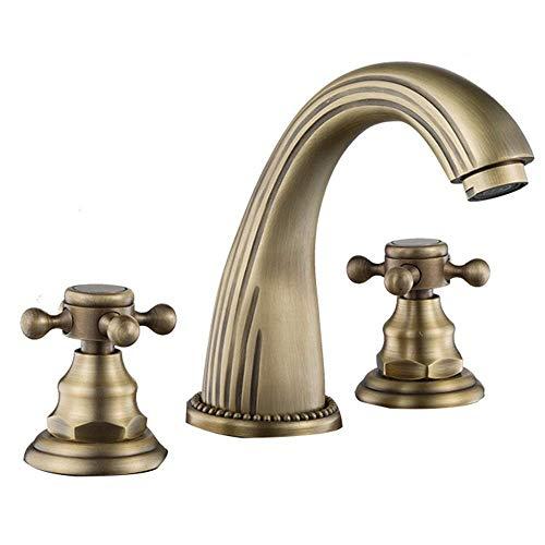 Casa cálida Casa Negro Oro Europeo Faucet Baño Tres Agujeros Mezclador de Agua fría y Caliente Cuenco Split Faucet (Color: Oro) Peng (Color : Gold)