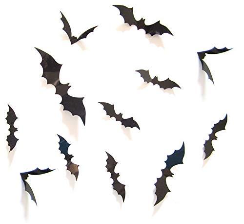 Halloween Supplies Decorative Decoration PVC 3D Bats Decoration 24 pcs for Home Decor DIY Window Office Wall Decal Bathroom Indoor Hallowmas Party Supplies