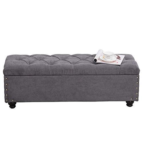 WHOJA Puff Almacenaje Plegable Banco del sofá Diseño de mechones Tapicería de...