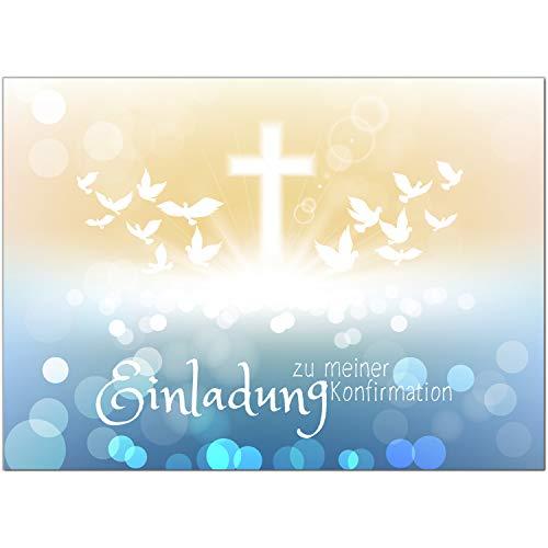 15 x Einladungskarten zur Konfirmation mit Umschlägen/Viele Tauben, modern mit Kreuz/Konfirmationskarten/Einladungen zur Feier