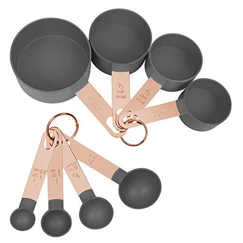 Messbecher Löffel Set Edelstahl Langlebig Messbecher und Messlöffel Für Küchen Kochen Backen Trockene und Flüssige Zutaten