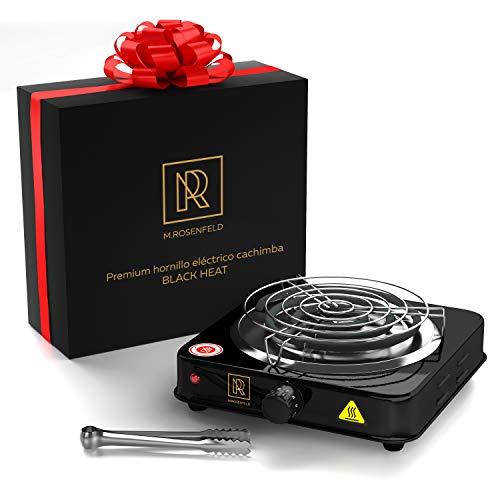 "HORNILLO CACHIMBA eléctrico superior para carbón ""BLACK HEAT"" (1000W COCINA ELECTRICA | Encendedor negro) + pinza + rejilla de acero de alta calidad + cable largo de 140 cm"