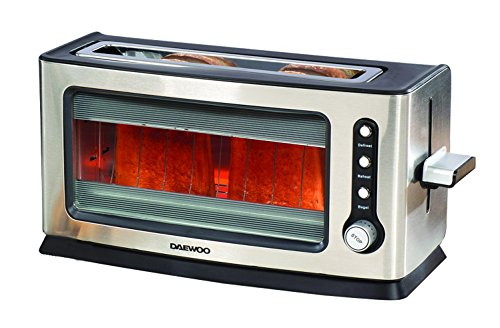Daewoo SDA1060 900W 2 Slice Transparent Glass Kitchen Toaster with Removable Tray, Silver