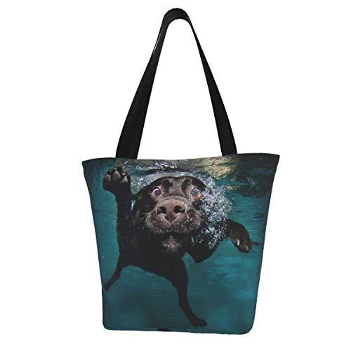 Bolsa de lona personalizada para perro, color negro, para nadar bajo el agua, lavable, bolsa de hombro, bolsa de compras para mujer
