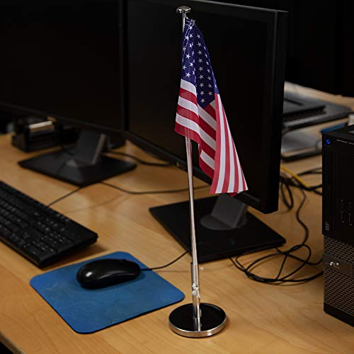 Vispronet Miniature USA Desk Flag and Stand � Height Adjustable 12.6in � 19.7in Telescopic Flagpole with Weighted Base � Flag Size 9.8in x 5.9in Photo #5