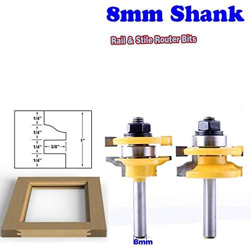N/A 2 STKS 8mm Schacht Rail & Stile Router Bits-Matched Standaard Ogee deur mes hoogte 25.4mmHoutsnijder Tenon Cutter voor Houtbewerking Gereedschap
