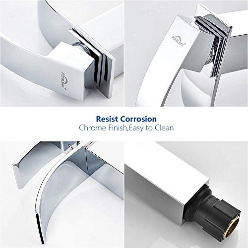 Auralum® Design Einhebel Wasserhahn Armatur Waschtischarmatur Wasserfall Einhandmischer für Badezimmer Waschbecken - 7