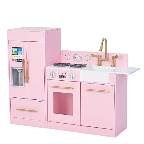 Teamson Kids Little Chef Chelsea Modern Play Kitchen Toddler Pretend 2 pcs Play Set with Accessories and Ice Maker Pink Gold