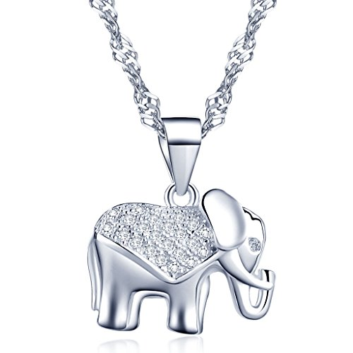 Yumilok Jewelry 925 Sterling Silver Cubic Zirconia Lovely Elephant Pendant Necklace for Women/Girls